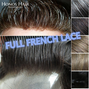 Full French Lace Hair Replacement System for Men Multiple Colors