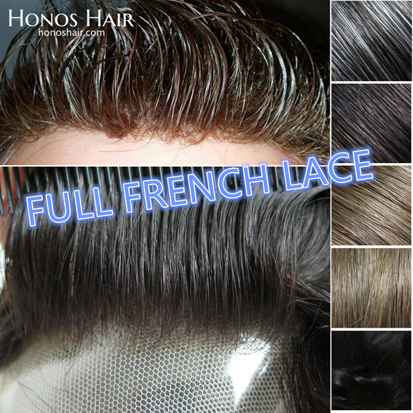 Full French Lace Hair Replacement System For Men Multiple