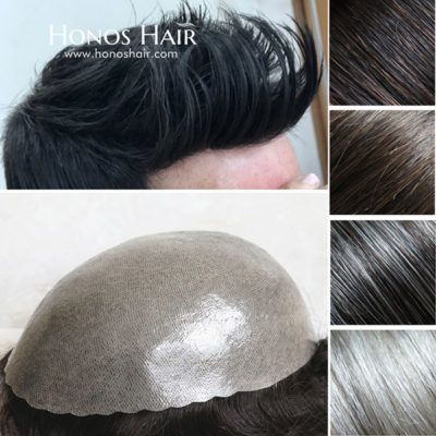 Full Poly Skin Mens Hair Replacement System Toupee Multiple Colors