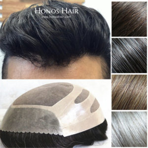 Fine Mono Hair Replacement Skin Front Mens Toupee Multiple Colors