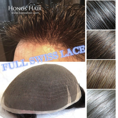 Full Swiss Lace Hair Replacement System for Men Multiple Colors